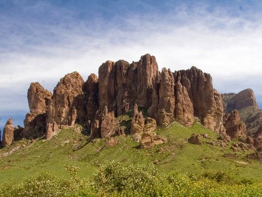 The view of the Superstition Mountains from the trails