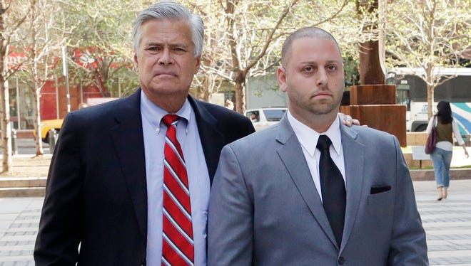 Senate Majority Leader Dean Skelos, left, and his son Adam arrive at FBI offices May 4.