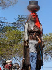 "Members of the Ysleta Del Sur Pueblo were hurting Monday and wondering why the statue of Nestora Piaroteon, displayed on tribal land that honors women was vandalized with red paint and a cross with ""Columbus Day"" written on it. The sculpture had recently been unveiled and dedicated in July. Jose Sierra Sr., Cacique for the Ysleta de Sur Pueblo, said he learned of the vandalism Monday morning when he received a call from a tribal member asking why the statue was covered in paint. Many elders from the tribe also were shocked and disappointed that such an act would have taken place. Sierra said the community is hurt by the action and wants to know why it happened and who is responsible for the action."