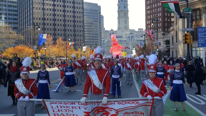 Jackson Liberty marching Lions band marches in the Philadelphia Thanksgiving Day parade.