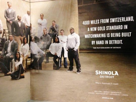An advertisement for Shinola in Hour Detroit magazine