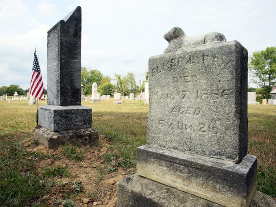 The condition of 6-year-old Elmer Fry's gravestone,