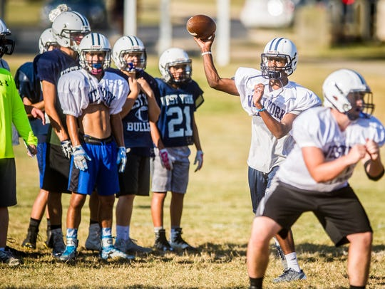 Anton Johnson passes during a West York practice Tuesday.