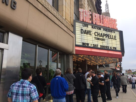 Fans line up outside the Fillmore Detroit, where on Tuesday night, Dave Chappelle played the first of six Detroit shows.