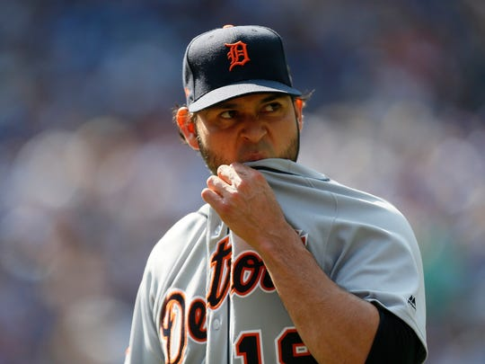 Tigers pitcher Anibal Sanchez (19) comes out of the