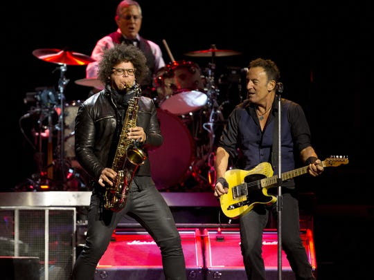 Bruce Springsteen and Jake Clemons on Jan. 31, 2016 at Prudential Center in Newark.