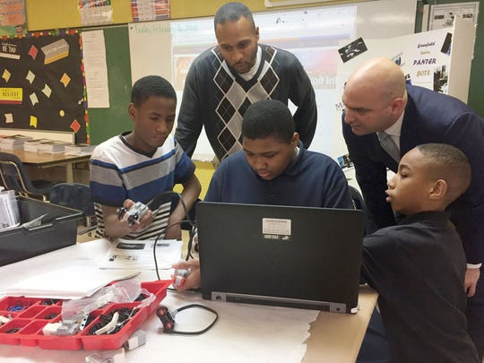 Detroit Superintendent Nikolai Vitti, talking to robotics students at Greenfield Union Elementary School Feb. 16, 2018 wants to expand robotics teams across the district. His goal is to have a team at each school in the district by the end of the 2018-19 school year.