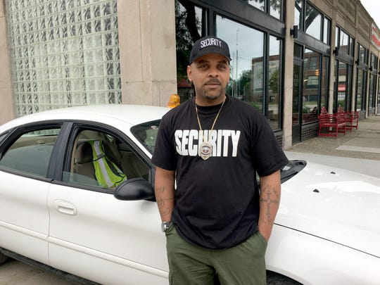 Rico Cutright is a security guard at The Peterboro in Detroit on June 2, 2018.