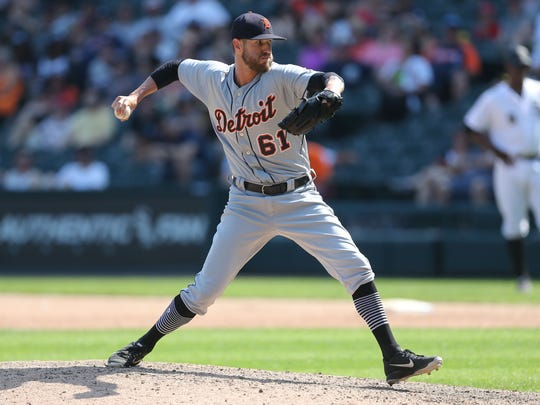 Detroit Tigers reliever Shane Greene throws a pitch in the ninth inning against the Chicago White Sox on June 16, 2018 in Chicago.