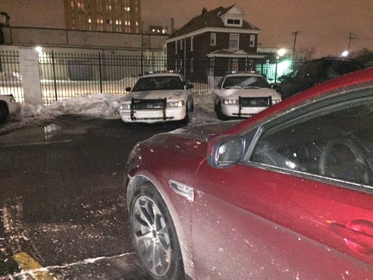James Robertson's new Ford Taurus was parked Monday night in a Detroit police parking lot in the New Center area.