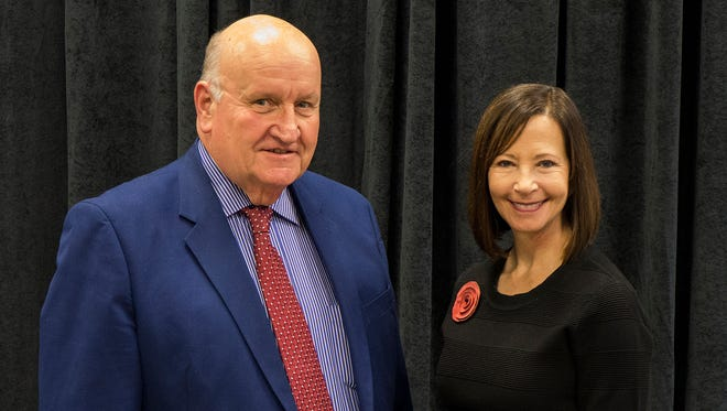 Fond du Lac County Executive Allen Buechel with UW Colleges and UW-Extension Chancellor Cathy Sandeen attends the recent awards ceremony where Buechel was presented with the 2016 Chancellor's Friend and Advocate Award.