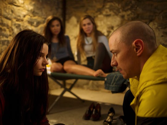"In ""Split,"" Kevin (James McAvoy) speaks with Casey (Anya Taylor-Joy)."
