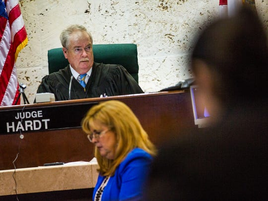 Collier Circuit Judge Frederick R. Hardt addresses the court during the trial for Rene Miles, charged with DUI manslaughter, leaving the scene of a crash involving a death and three counts of DUI causing serious bodily injury, at the Collier County Courthouse on Tuesday, June 13, 2017.