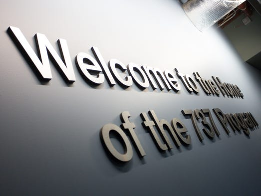 A sign welcomes visitors to the Boeing 737 factory