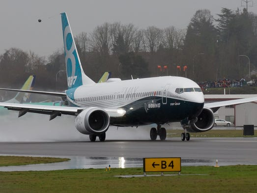 Boeing's first 737 MAX jet, an upgraded version of