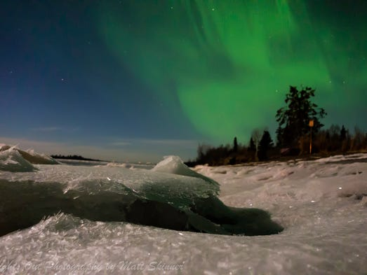 Aurora Borealis as seen along Alaska's Knik River in