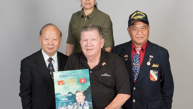 Clockwise from left:  Brig. Gen. Hauly Moua, Sergeant Maj. Sevieng Suparat, Maj. Sar Phouthasack, and Ret. Air Force Gen. Richard Secord on Wednesday, October 26, 2016.