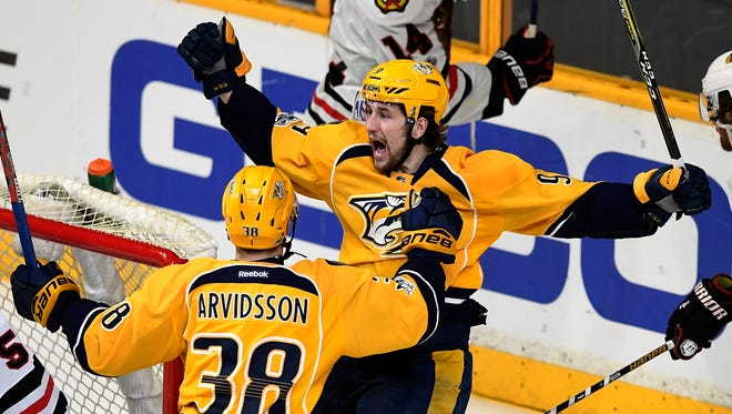 Predators forwards Filip Forsberg and Viktor Arvidsson have six combined points in the first three games against the Blackhawks.