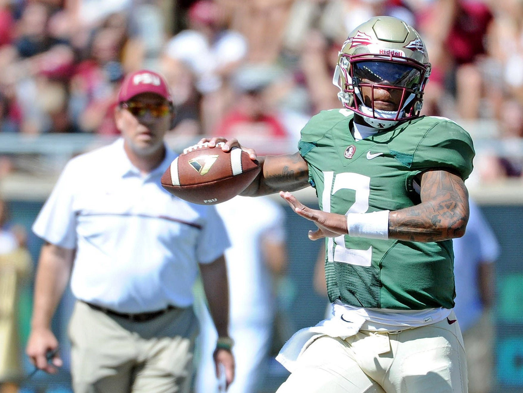 Apr 8, 2017; Tallahassee, FL, USA; Florida State Seminoles head coach Jimbo Fisher watches quarterback Deondre Francois (12) throw the ball during the Spring Game at Doak Campbell Stadium. Mandatory Credit: Melina Vastola-USA TODAY Sports