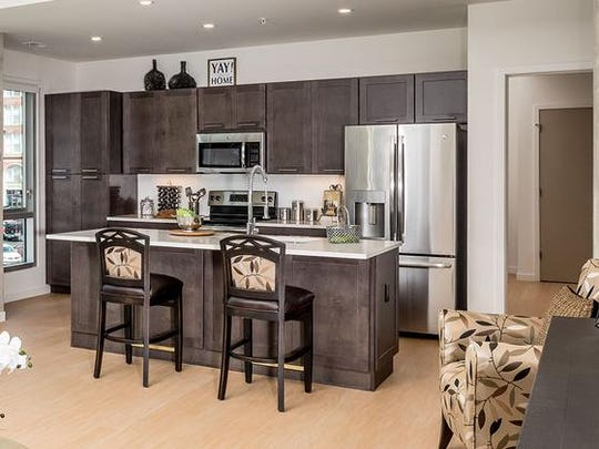 A model kitchen at the Encore Urban Living apartments in downtown Cincinnati.