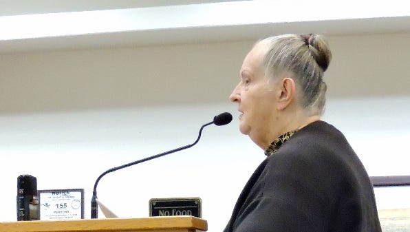 Deming resident Jane Fricano addressed officials at the New Mexico CAP Entity meeting on Tuesday about her concerns for the estimated $66 million Giver River diversion project that would affect the southwestern New Mexico quad-counties of Grant, Luna, Hidalgo and Catron.