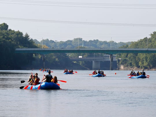 Fifth graders from Battle Ground Intermediate School along with their adult leaders raft the Wabash River as part of Battle Ground River Wrats (Wabash Rafting with Adventurous Tomahawk Scientists) Wednesday, August 30, 2017, in West Lafayette. Along the way, students the learned about the Wabash River as a resource and the human history of the river.