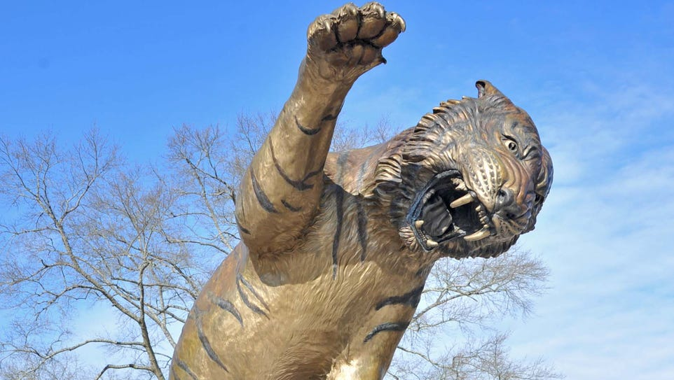 """""""Eddie"""" stands on the campus of Grambling State University."""