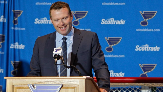 Jan 29, 2015; St. Louis; Martin Brodeur addresses the media to announce his retirement during a press conference at Scottrade Center.