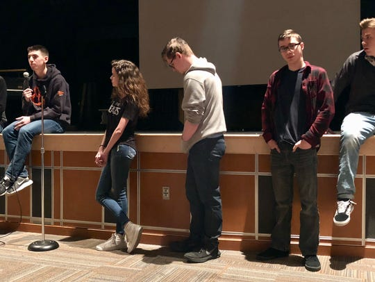 Chambersburg Area Senior High School students line