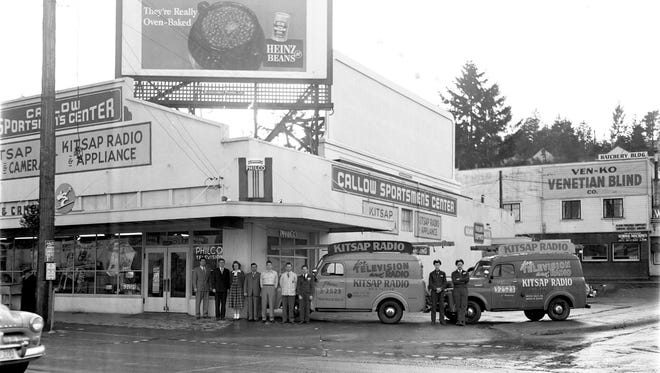 """Shown in Bremerton at Sixth and Callow around 1952 is Kitsap Radio, one of the early vendors of television sets in Kitsap County. People living here in the 1950s might remember the musical jingle played often on local radio station KBRO stating one could buy a Philco TV at Kitsap Radio and expect """"Easy Budget Terms,"""" """"Small Weekly Payments"""" and """"Prices So Low."""" To see more photos from the Kitsap County Historical Society Museum archives, visit facebook.com/kitsaphistory, kitsapmuseum.org, or stop by the museum at 280 Fourth Street in Bremerton. Call 360-479-6226 for information."""