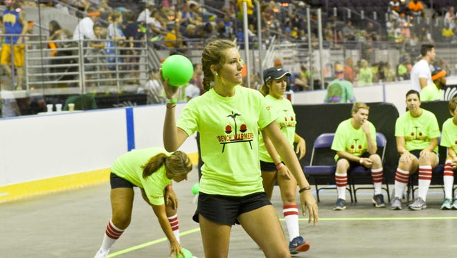 A member of the Benchwarmers team takes aim during last year's Dodge Brawl charity dodgeball tournament at the Pensacola Bay Center. The event returns Saturday.