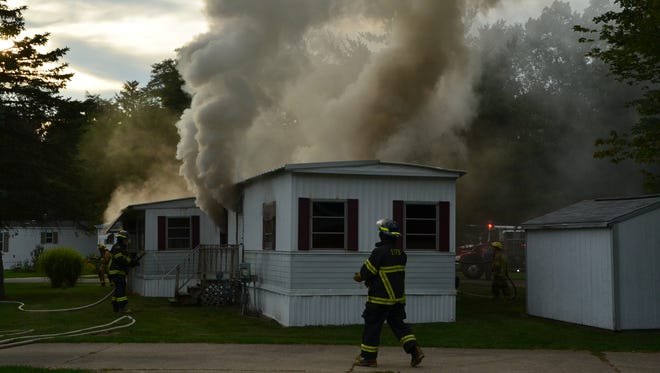 Newton Township firefighters with help from two other departments fought this fire Wednesday.