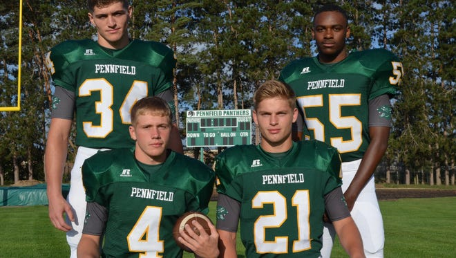 The returning leaders for the 2017 Pennfield football team include, from left, Ashton Leenhouts, Kollin Kemerling, Grant Petersen and Justen Gordon.