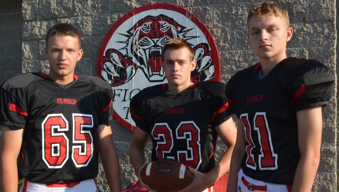 The returning leaders for the 2017 St. Philip football team include, from left, Andy Forche, Chris Kubasiak and Justice Steiner.