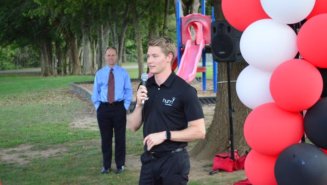 IndyCar driver Josef Newgarden talks to a crowd of fans at Drakes Creek Park on Wednesday, Sept. 20.