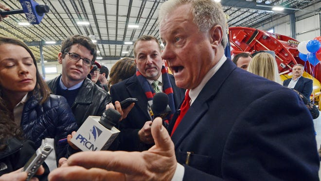 FILE – In this Jan. 11, 2017, file photo, Pa. state Sen. Scott Wagner, a Republican from York County and owner of trash hauling firm Penn Waste, speaks to reporters after formally announcing he will run for Pennsylvania governor in 2018, during an event at a Penn Waste facility in Manchester, Pa. U.S. Rep. Lou Barletta, a Republican planning to challenge Democratic U.S. Sen. Bob Casey's bid for re-election in 2018, and Wagner, planning to challenge Democratic Gov. Tom Wolf's attempt to win a second term in 2018, were both early supporters of Trump, and remain unabashed supporters of the president.