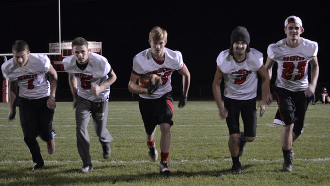 Bellevue uses speed to beat teams, behind athletic players like, from left, Carson Betz,  Wyatt Waterbury, Trent Neal, Dawson Staskus and Cody Rugg.