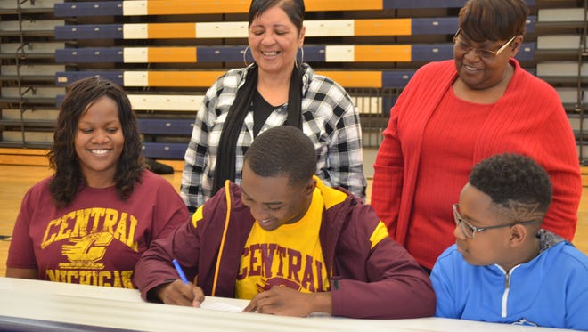 Battle Creek Central's Parris Bolden is going to Central Michigan University as a preferred walk-on, signing on National Signing Day on Wednesday at BCC High School.
