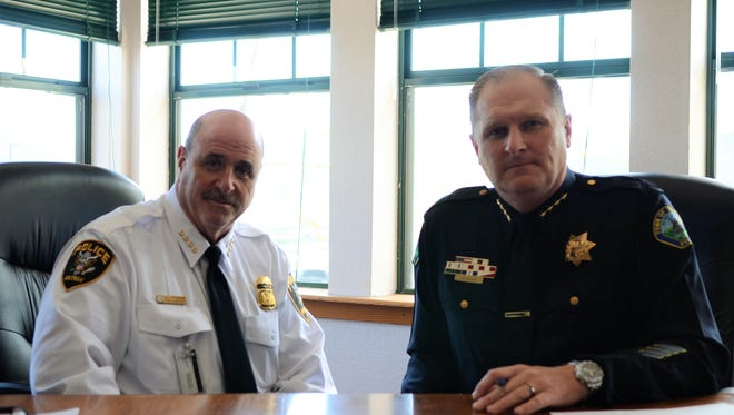 Amtrak Chief of Police Neil Trugman and Truckee Chief of Police Robert Leftwich in the Truckee Police Department on Tuesday, May 29.