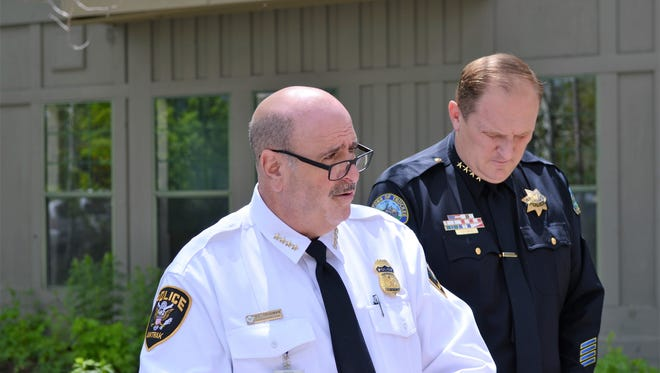 Amtrak Chief of Police Neil Trugman, flanked by Truckee Chief of Police Robert Leftwich, during a press conference on May 29.