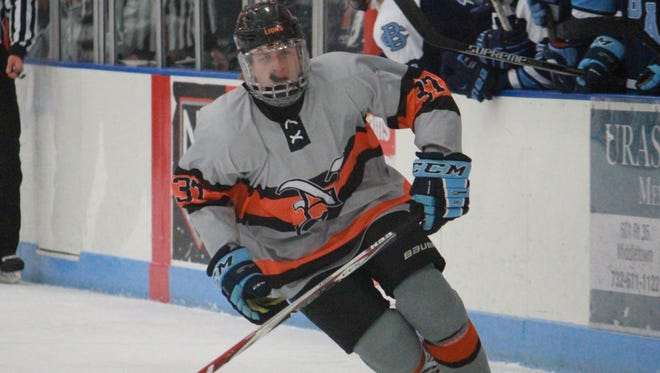 Bobby Hampton of Middletown North skates into the offensive zone.