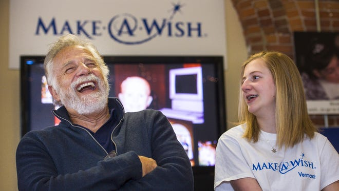 "Jonathan Goldsmith, who portrayed ""The Most Interesting Man in the World"" in a series of beer commercials, appears with Jamie Heath of Barre at the Make-A-Wish Vermont offices in Burlington on Monday, March 28, 2016."
