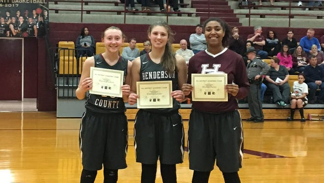 Three Henderson County High School Lady Colonels, Alyssa Dickson, Emma Lander and Alisha Owens, were all named to the All District Academic Team. From left: Alyssa Dickson, Emma Lander and Alisha Owens.