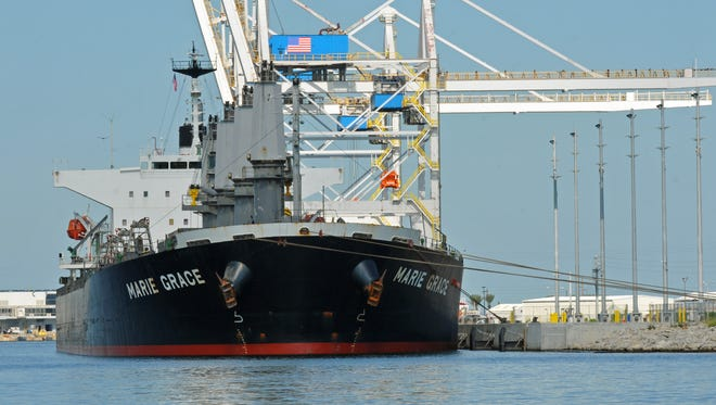 The cargo ship Marie Grace arrives at Port Canaveral.