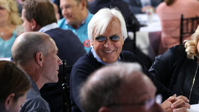 Mor Spirit trainer Bob Baffert, right, chatted with jockey Gary Stevens during the Kentucky Derby Draw at Churchill Downs.May 4, 2016