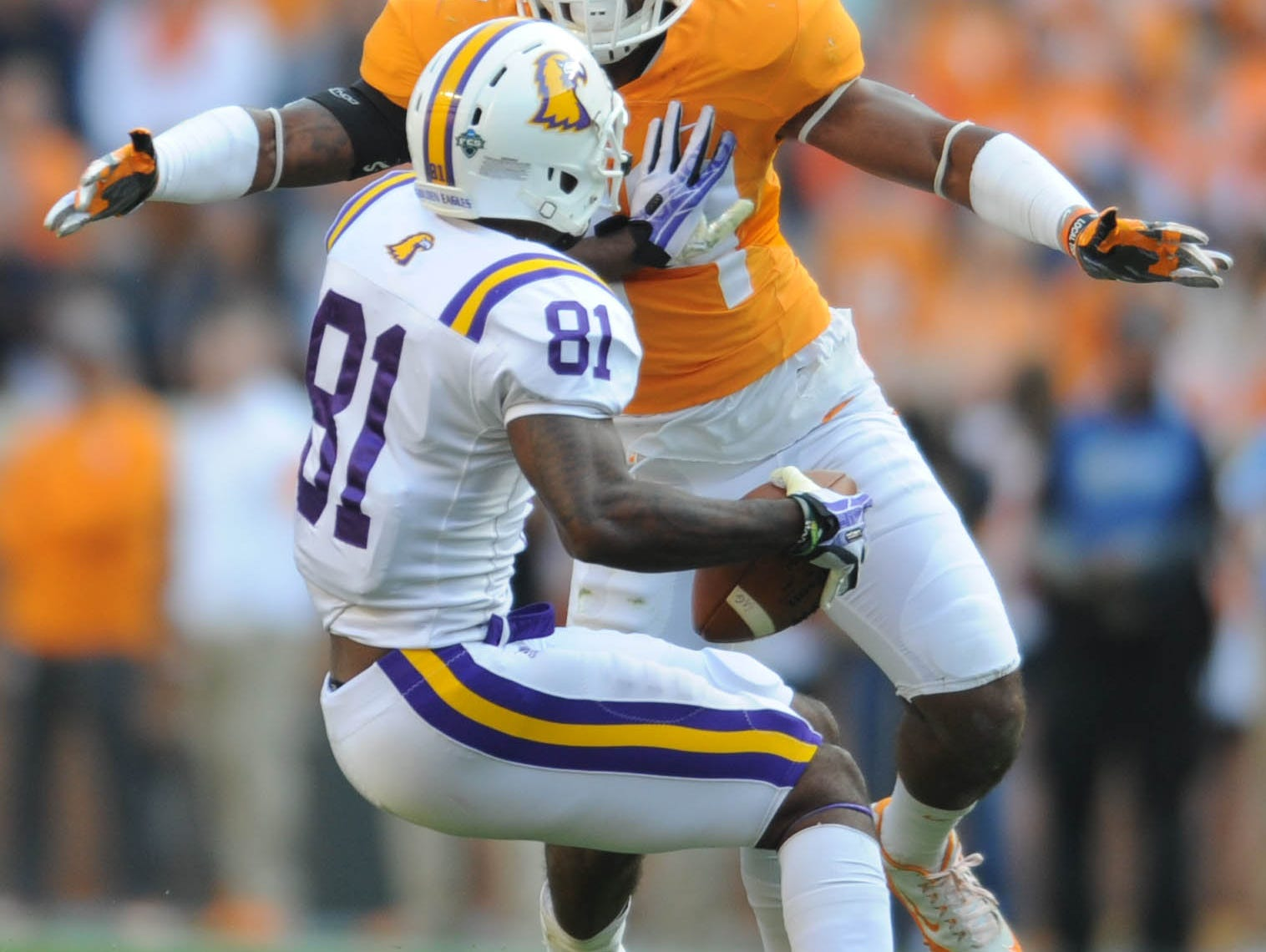 Tennessee linebacker Darrin Kirkland Jr. (34) stops Tennessee Tech wide receiver Austin Hicks (81) during the first half at Neyland Stadium on Saturday, Nov. 5, 2016.