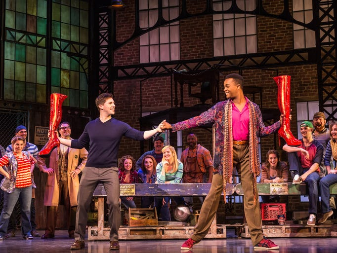 "The cast of the national tour of ""Kinky Boots."""