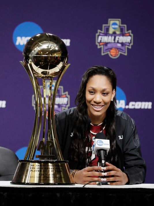 South Carolina's A'ja Wilson speaks after receiving The Associated Press' women's college basketball Player of the Year award at the NCAA women's Final Four college basketball tournament Thursday, March 29, 2018, in Columbus, Ohio. (AP Photo/Darron Cummings)