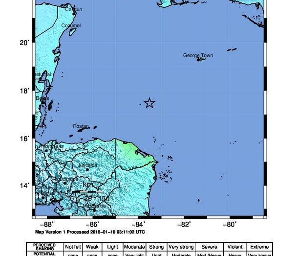 A handout photo provided by the US Geological Survey (USGS) shows the epicenter (marked with a star) of a magnitude-7.6 earthquake struck about 125 miles north-northeast of Barra Patuca, Honduras on Tuesday.