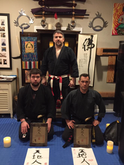 In back is CEO Warrior Mike Agugliaro, co-owner of Gold Medal Service in East Brunswick, and (from left) his son, Michael, and Eddie Wnorowski, one of Agugliaro's martial arts students for more than 18 years.